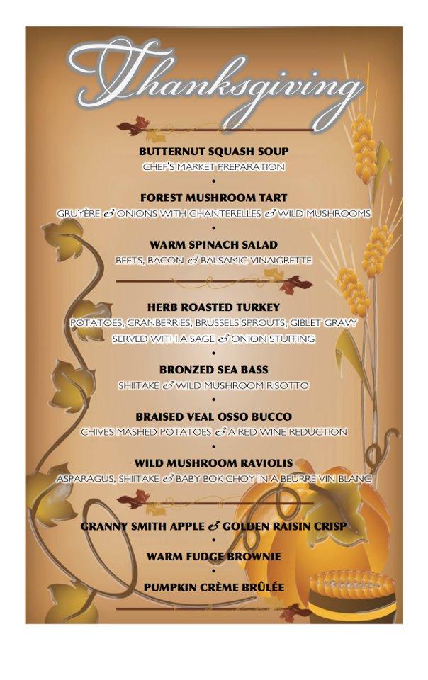 classic thanksgiving menu list