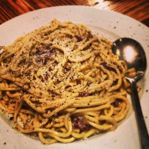 The pasta carbonara was like breakfast for dinner, like bacon and eggs on pasta.