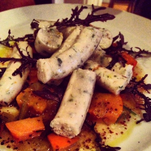 The seabass sausage with persimmon mostarda was a nice start to dinner.