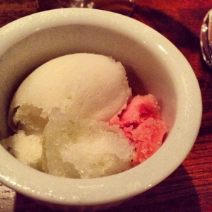 The housemade sorbetto trio, served as a palate cleanser, was sublime.