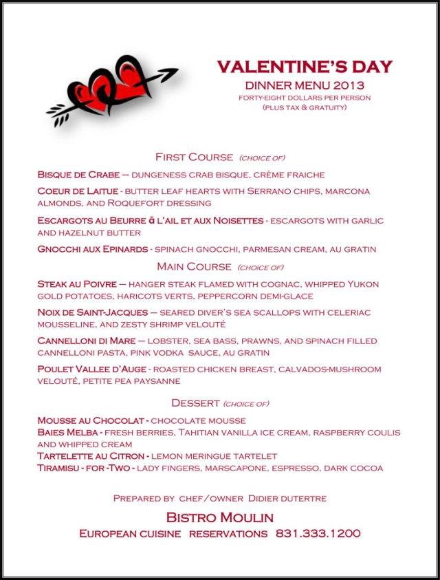 Bistro Moulin_Valentines Day 2013 menu