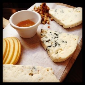 "The ""Blue Board"" at Carmel Belle included samples of three tangy blue cheeses."