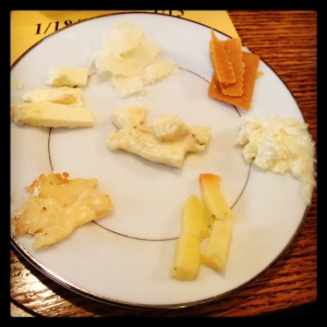 A sampling of our cheeses, plated for the after party in the evening.