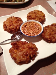 The corn cakes were remarkably light for something deep-fried.
