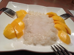 Sticky rice with mango is a must-order to cleanse the palate after dinner.