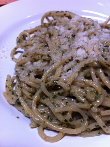 Lunch at il Vecchio highlights pasta, including spaghetti al pesto on Wednesdays.