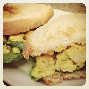 The curried chicken salad sandwich is one of the most popular dishes on the menu at Pastries and Petals.
