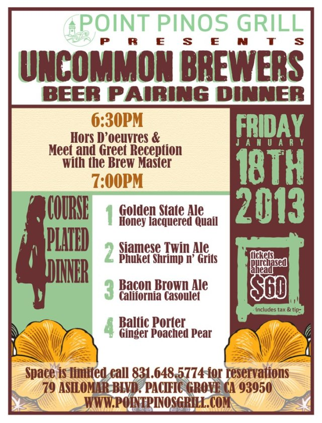 Point Pinos Grill_Uncommon Brewers beer dinner flyer