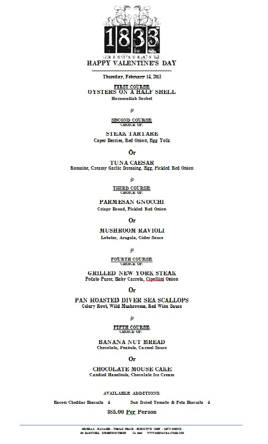 Coming Soon Valentine S Day Dinner At Restaurant 1833 Off The Menu