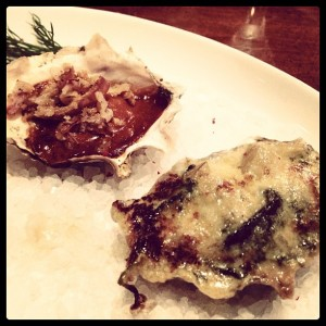 Dinner started with a duo of oysters.
