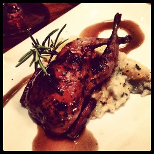 The quail was tender with a sweet glaze outside.