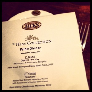 This Wednesday, Jacks Restaurant paired select dishes from their new dinner menu with wines from Hess Collection.
