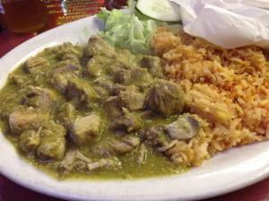 The chile verde was spicy, the perfect remedy for the cold weather outside.