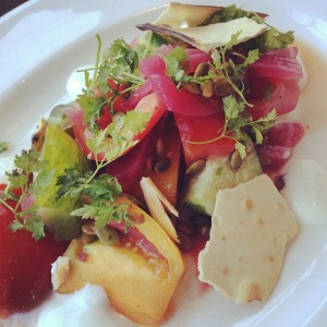 All around town, restaurants are featuring the best of the summer harvest, like heirloom tomatoes.