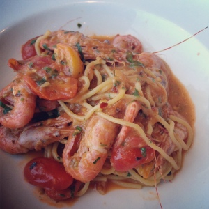 The shrimp spaghetti, with whole coonstripe shrimp, has been one of my favorite dishes at Cindy's Waterfront.
