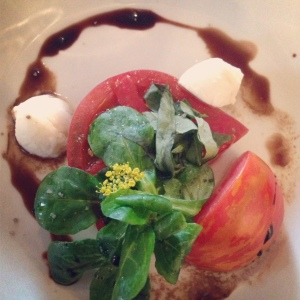 The first of the season's heirloom tomatoes were paired with fresh mozzarella and tangy balsamic.