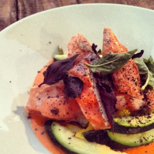 Cooked in duck fat, the salmon at Lokal was simply sublime, served atop a velvety carrot puree.
